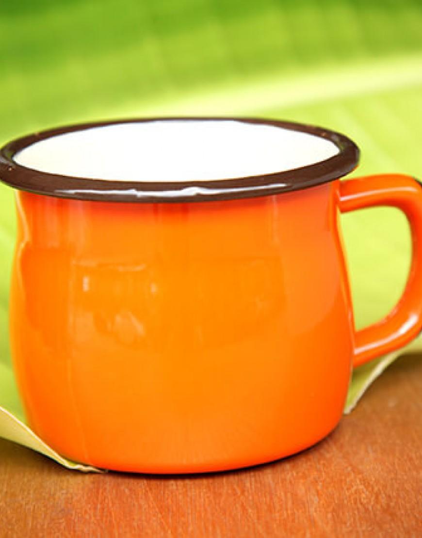 大肚琺瑯杯 - 橘色