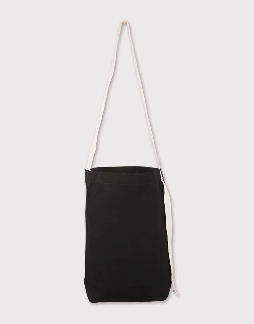 黑色長背帶有底中帆布包