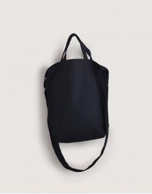 黑色中帆布單層有底直式兩用袋 I 磁釦款 I