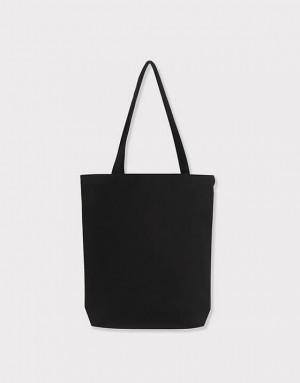 黑色12安厚帆布單層有底直式肩背包