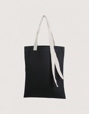 黑色中帆布單層提帶外露直式袋 I 米色提把 I