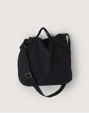 中帆布橫式兩用袋 - 黑色 I 背帶可調款 I