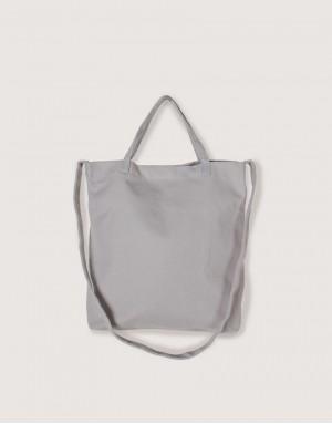 厚帆布單層有底兩用橫式袋 - 灰色