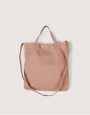 厚帆布單層有底兩用橫式袋 - 灰橘