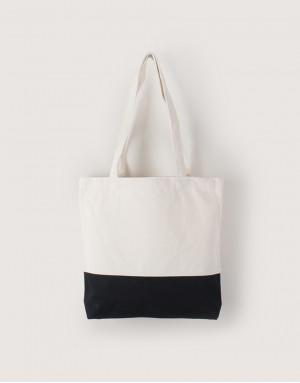 中帆布雙色拼接橫式袋