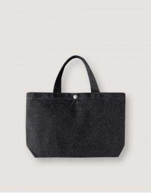 黑色牛仔橫式銅釦小提包 - 50份起訂