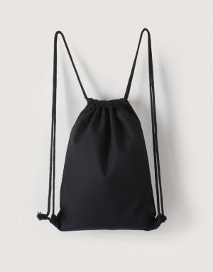 黑色中帆布束口後背包
