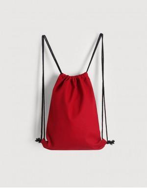 八色帆布束口後背包 - 紅色