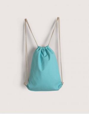 八色帆布束口後背包 - 淺藍綠色