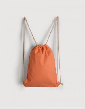 八色帆布束口後背包 - 淺橘色