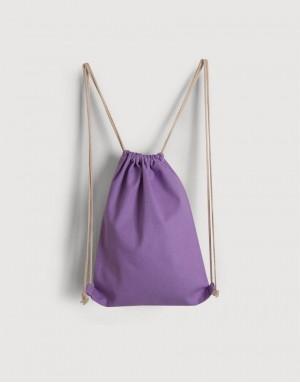 八色帆布束口後背包 - 紫色