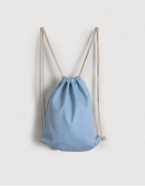八色帆布束口後背包 - 淺藍色