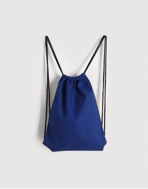 八色帆布束口後背包 - 藍色
