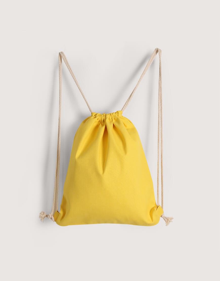 八色帆布束口後背包 - 黃色