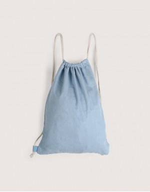 牛仔布束口後背包 - 淺藍