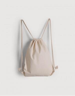 輕帆布束口後背包 - 米白色