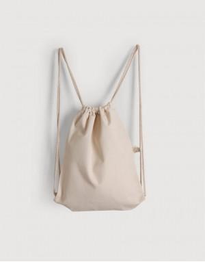 厚帆布束口後背包 - 米白色