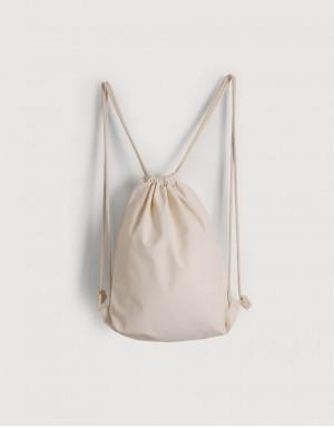 棉布束口後背包 - 米白色