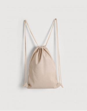 棉麻布束口後背包 - 米灰色
