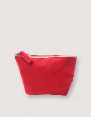 帆布有底化妝包 - 紅色