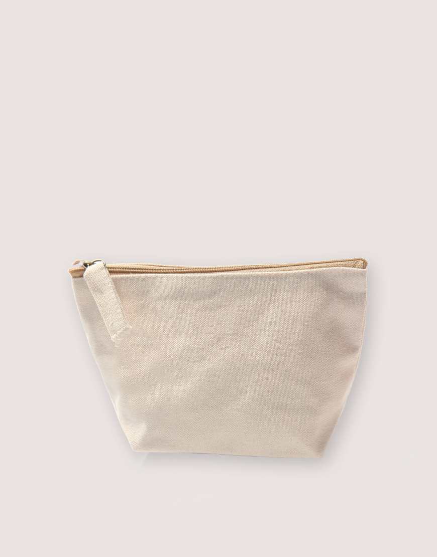 帆布有底化妝包 - 米色