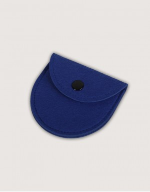 半圓形羊毛氈零錢袋 - 深藍色