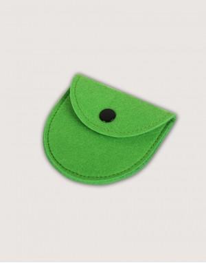 半圓形羊毛氈零錢袋 - 草綠色