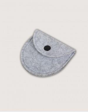 半圓形羊毛氈零錢袋 - 淺灰色