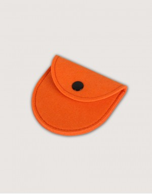 半圓形羊毛氈零錢袋 - 亮橘色