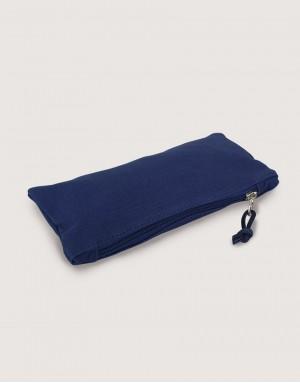 帆布拉鍊大筆袋 - 深藍色
