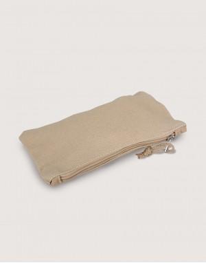 帆布拉鍊大筆袋 - 卡其