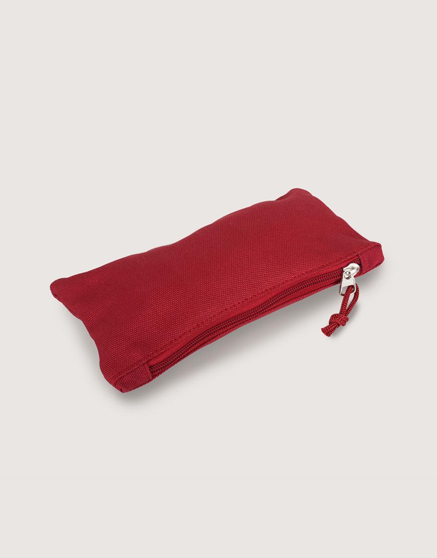 帆布拉鍊大筆袋 - 紅色