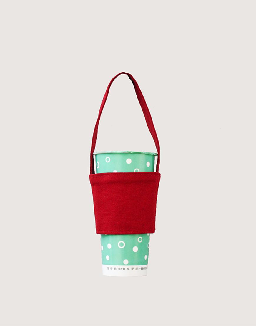 12N 雙層帆布飲料提袋 - 紅色