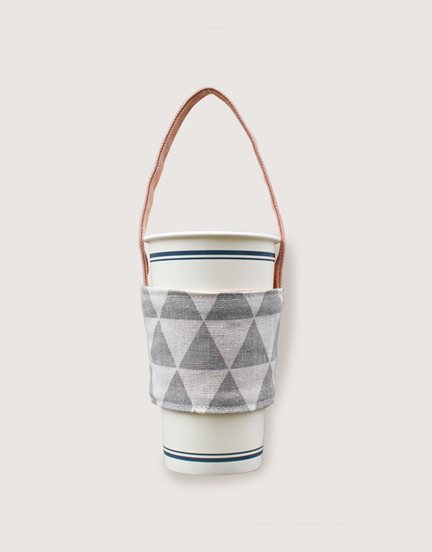 12N雙層帆布飲料提袋 - 三角灰