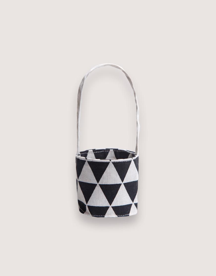 12N雙層帆布飲料提袋 - 黑三角 I 雙面印花 I
