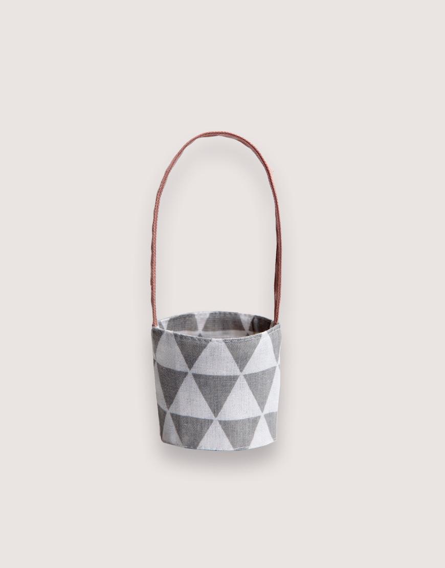 12N雙層帆布飲料提袋 - 三角灰 I 雙面印花 I