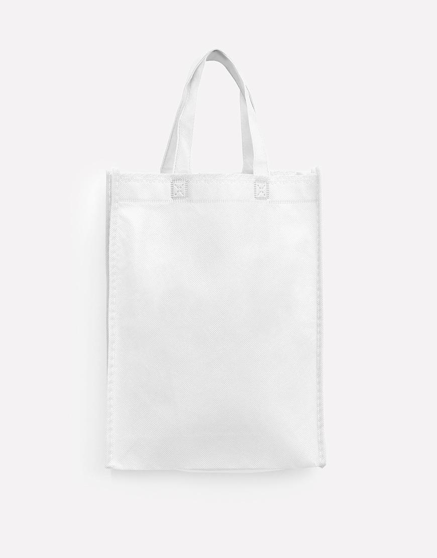 不織布有底有側直式袋 - 白色