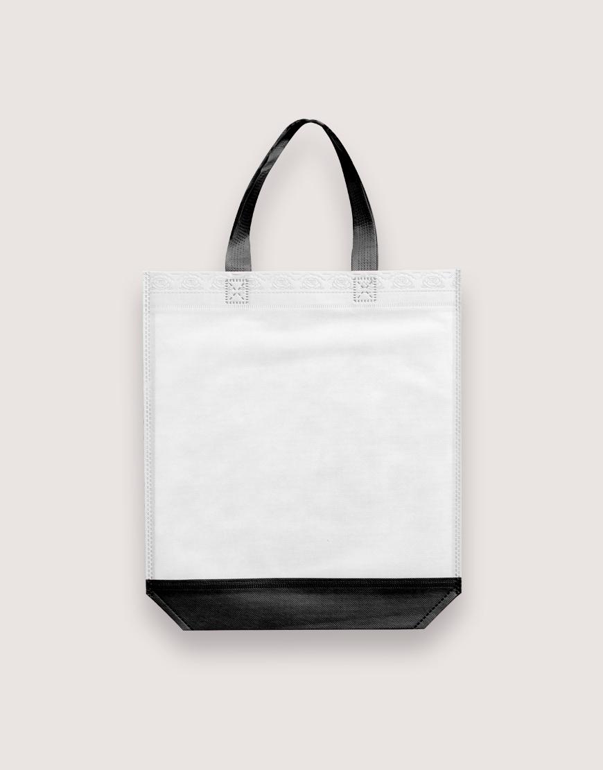 雙色不織布有底無側直式袋 - 黑白