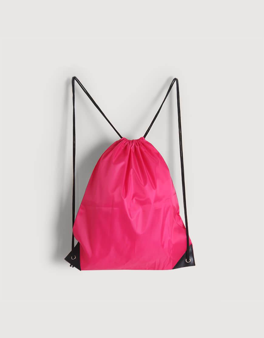 尼龍布210D束口後背包 - 桃紅色