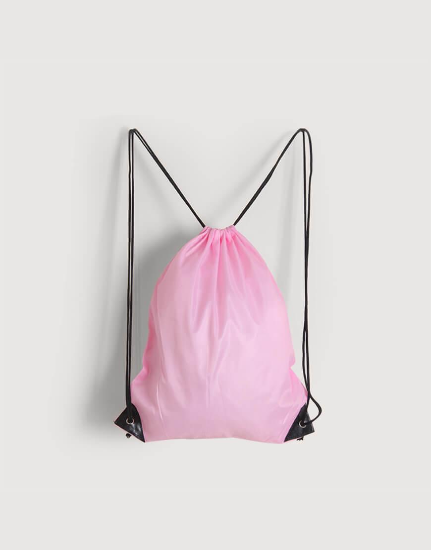 I 缺貨 I 尼龍布210D束口後背包 - 粉紅色