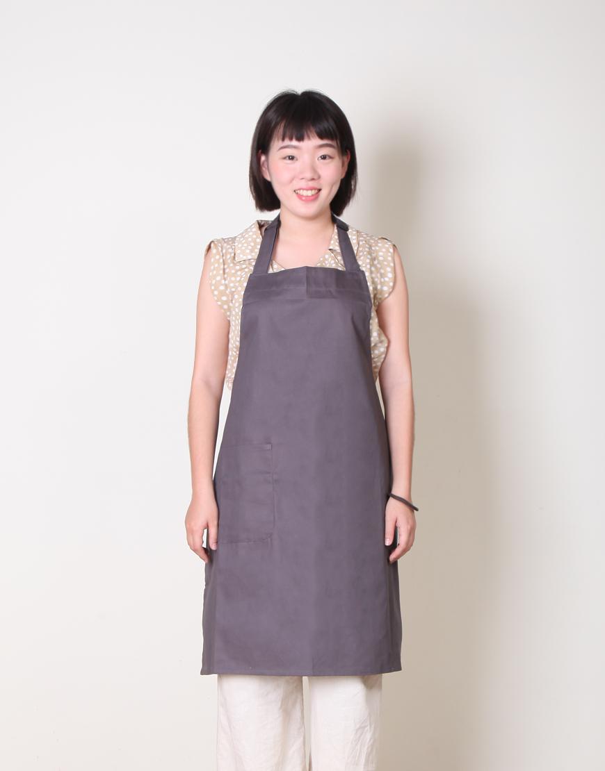 純棉單一口袋繞頸式圍裙 - 灰色