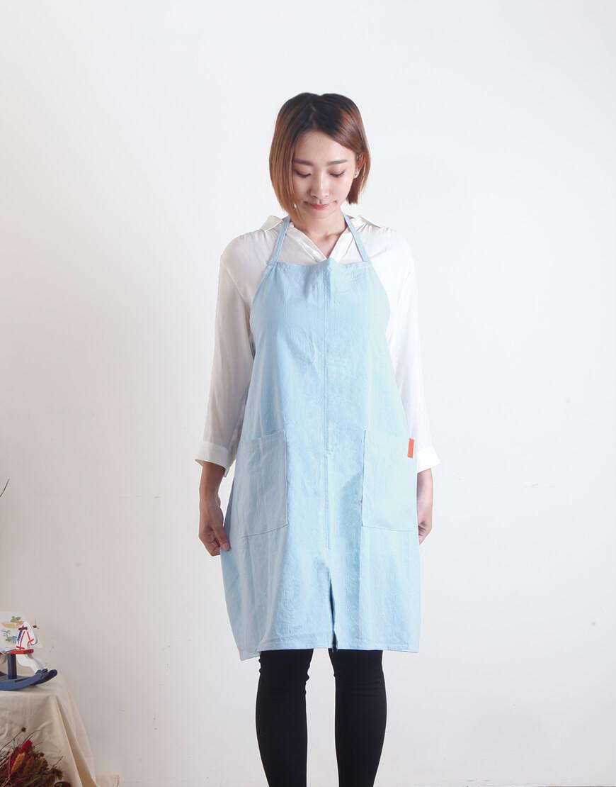 水洗棉麻簡約款圍裙 - 煙藍