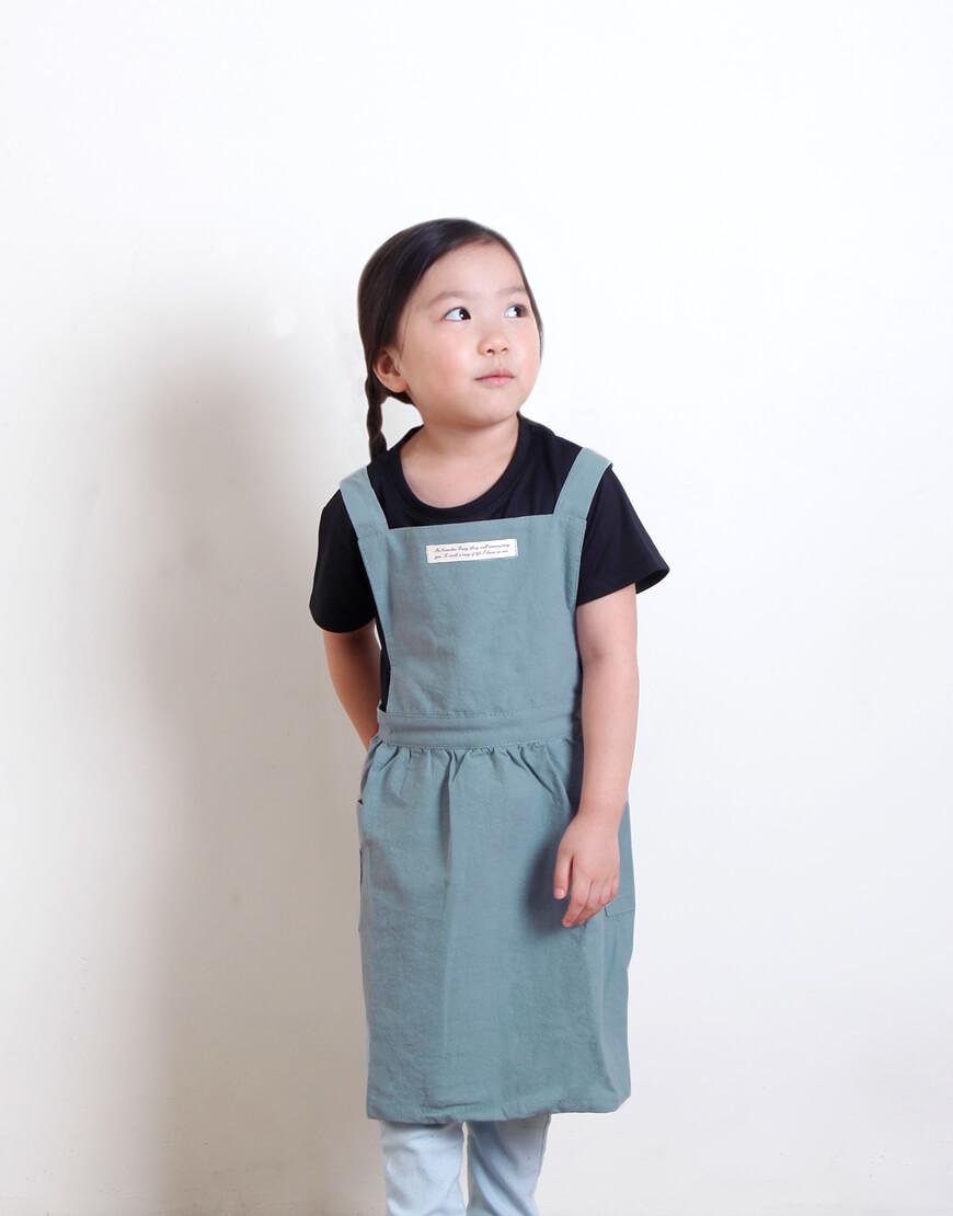 水洗棉百摺裙款圍裙 - 淺綠色 I 兒童款 I