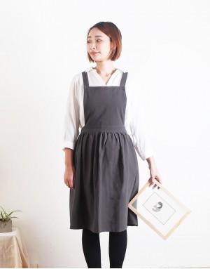 水洗棉麻百摺裙款圍裙 - 3色
