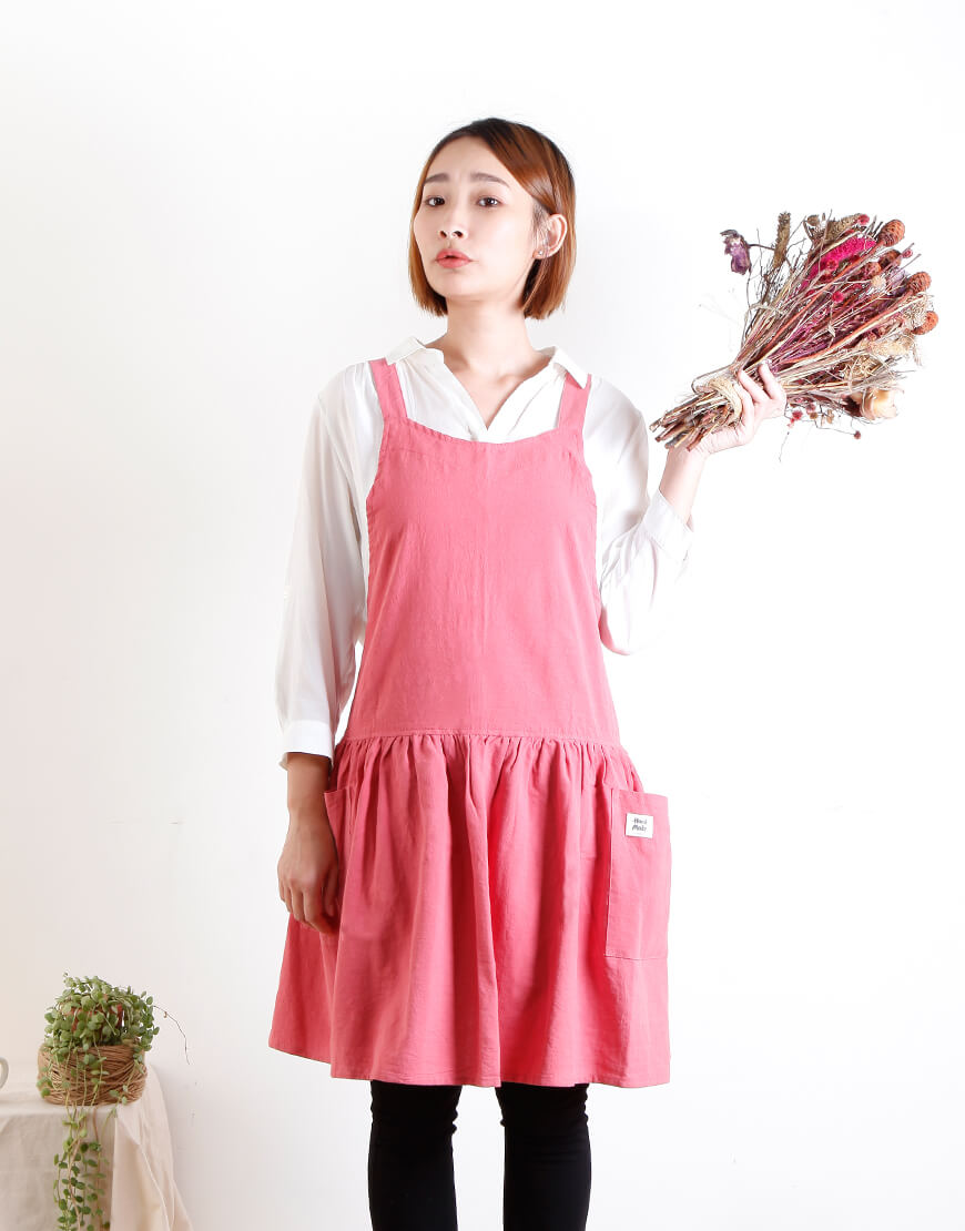 水洗棉麻背心式款圍裙 - 5色