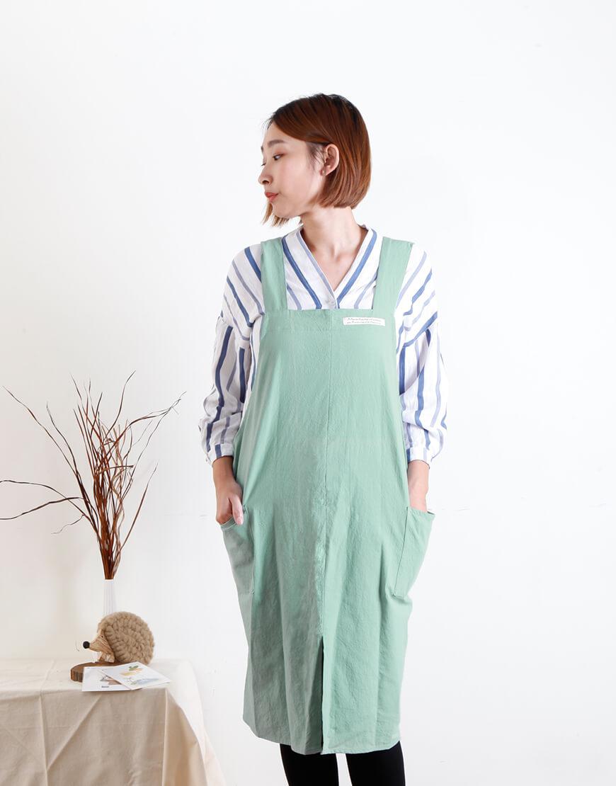 棉麻家居款雙口袋寬肩帶圍裙  - 7色