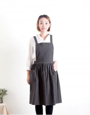水洗棉麻雙口袋百摺裙款圍裙 - 3色