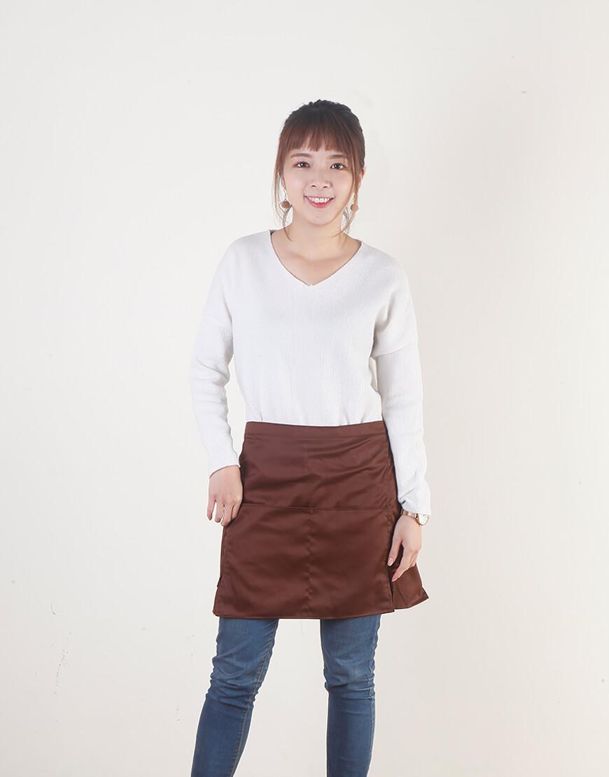 I 缺貨 I 混棉三口袋半身式圍裙 - 咖啡色