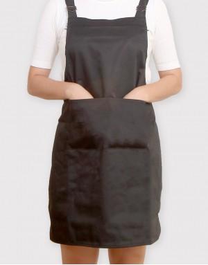 混棉布背帶式雙扣可調二口袋圍裙 - 黑色