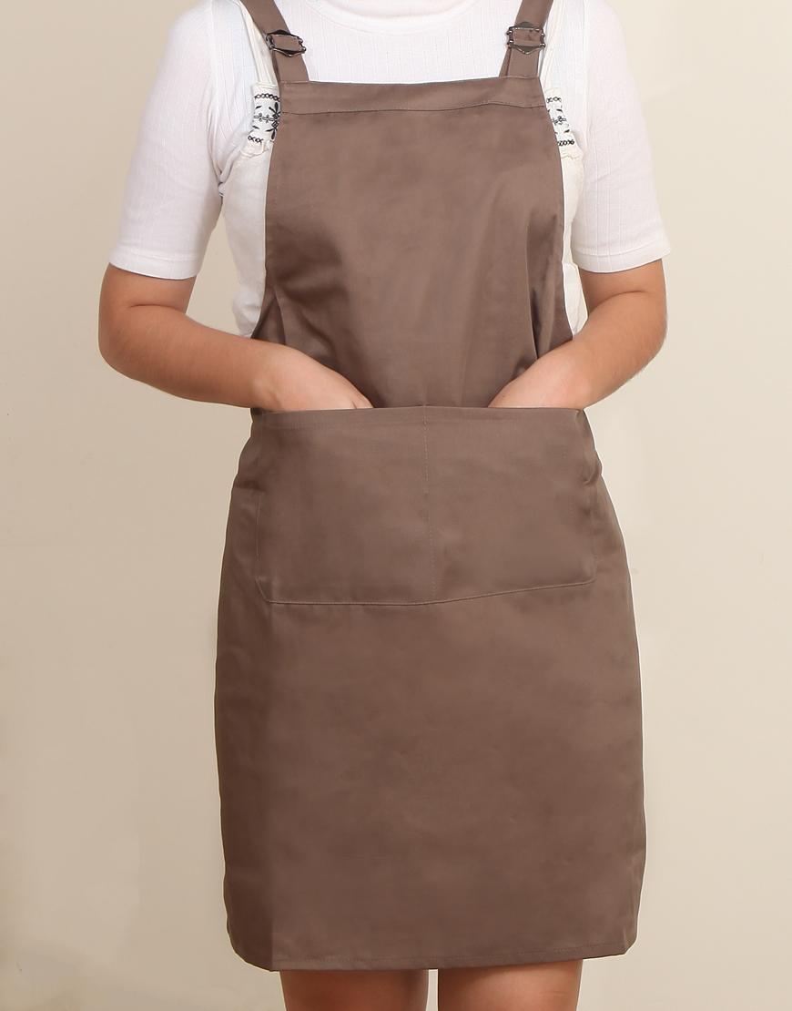 混棉布背帶式雙扣可調二口袋圍裙 - 卡其色